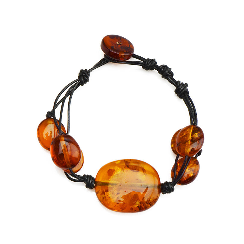 Beautiful Cognac Baltic Amber Leather Bracelet - Large