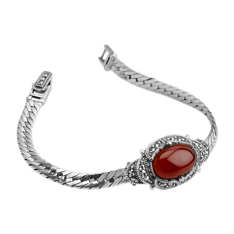 Carnelian and Marcasite Sultana Sterling Silver Bracelet
