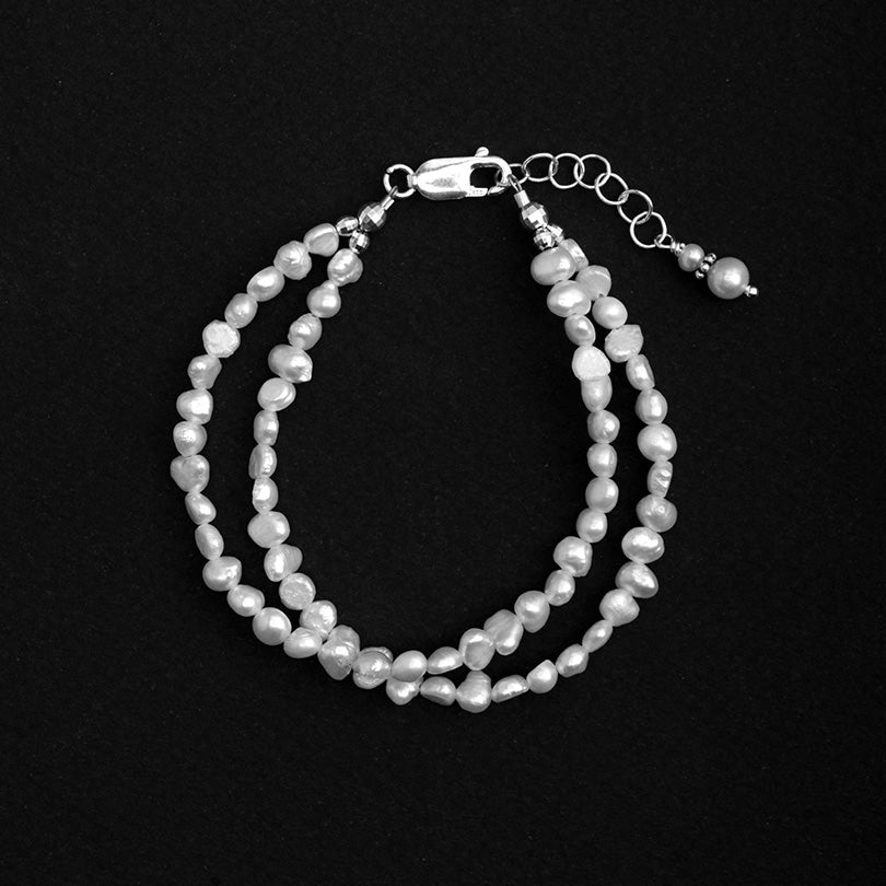 Lovely White Fresh Water Pearl Sterling Silver Bracelet