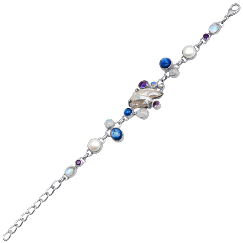 Fresh Water Pearl, Blue Kyanite and Rainbow Moonstone Sterling Silver Bracelet