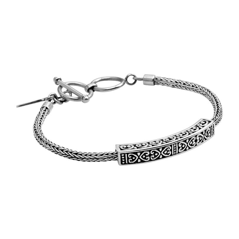 Sterling Silver Bali Weave Bracelet with Filigree Bar