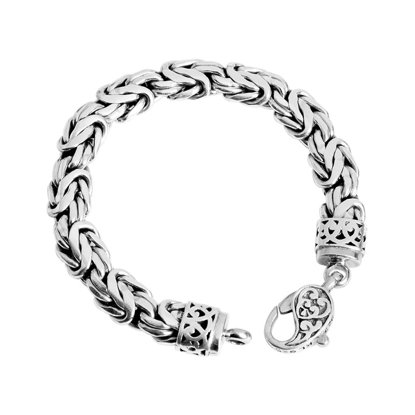 Sterling Silver 10mm Bali Borobadur Bracelet with Filigree Lobster Clasp