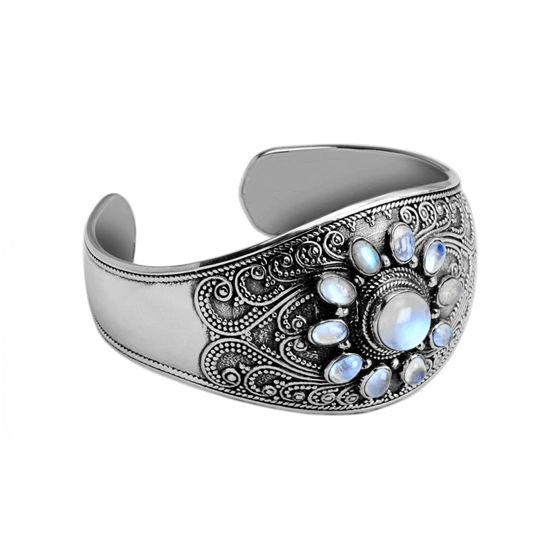 Gorgeous Shimmering Rainbow Moonstone Sterling Silver Statement Cuff Bracelet