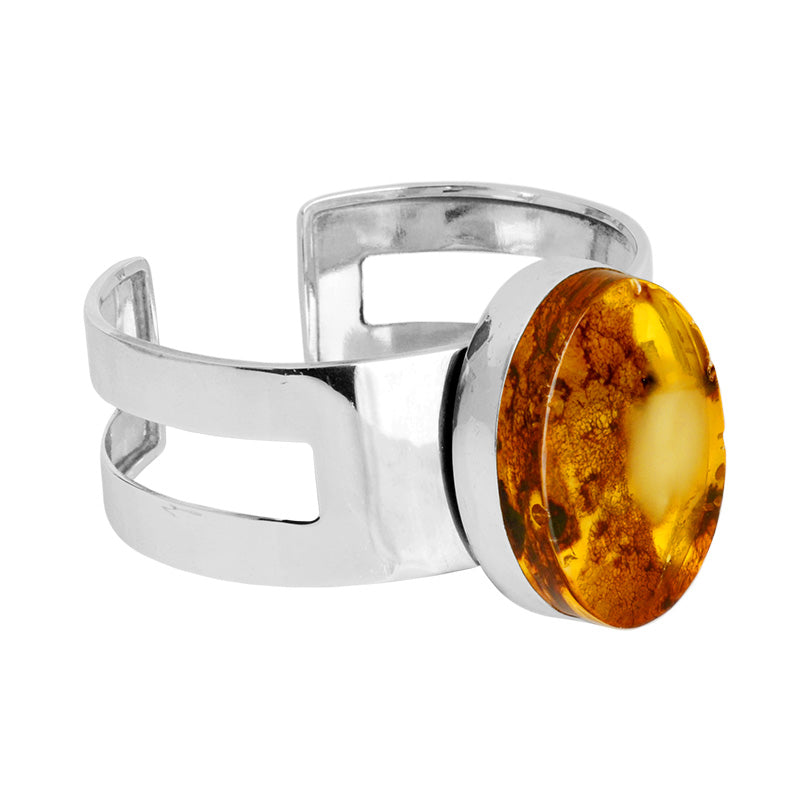 Polish Designer Amazing Baltic Amber Stone Sterling Silver Cuff Bracelet