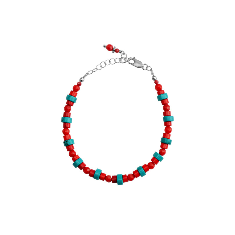 Petite Coral and Magnesite Turquoise Petite Sterling Silver Bracelet