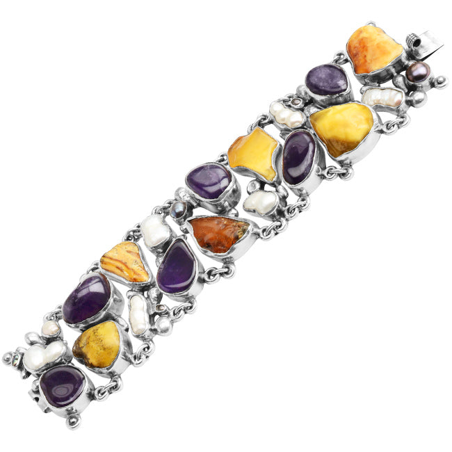 Magnificent Polish Designer Pomianowski Baltic Amber, Amethyst and Pearl Sterling Silver Statement  Bracelet