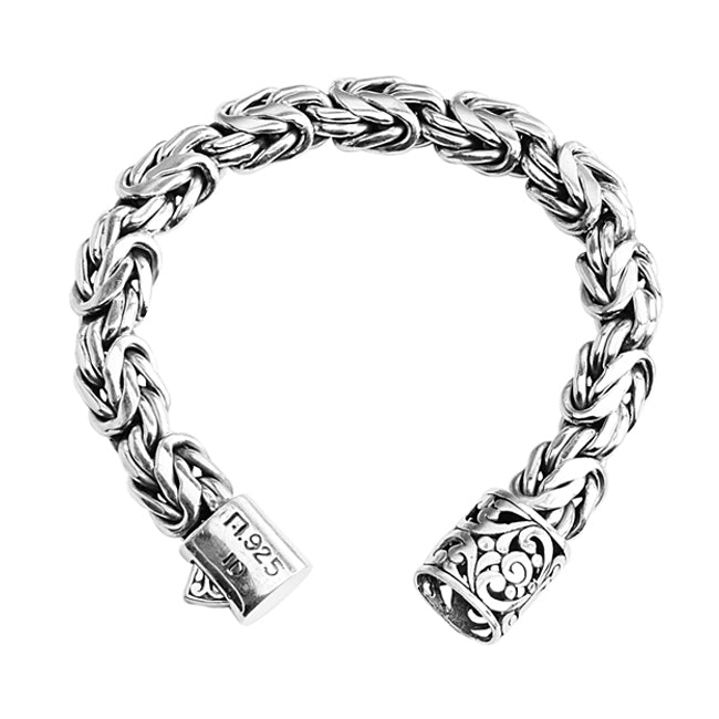 Sterling Silver 12mm Borobadur Bracelet with Barrel Clasp
