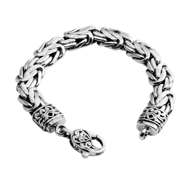 Sterling Silver 12mm Bali Borobadur Bracelet with Filigree Lobster Clasp