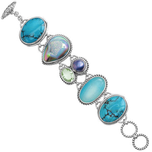 Stunning Turquoise & Mixed Stones Sterling Silver Bracelet