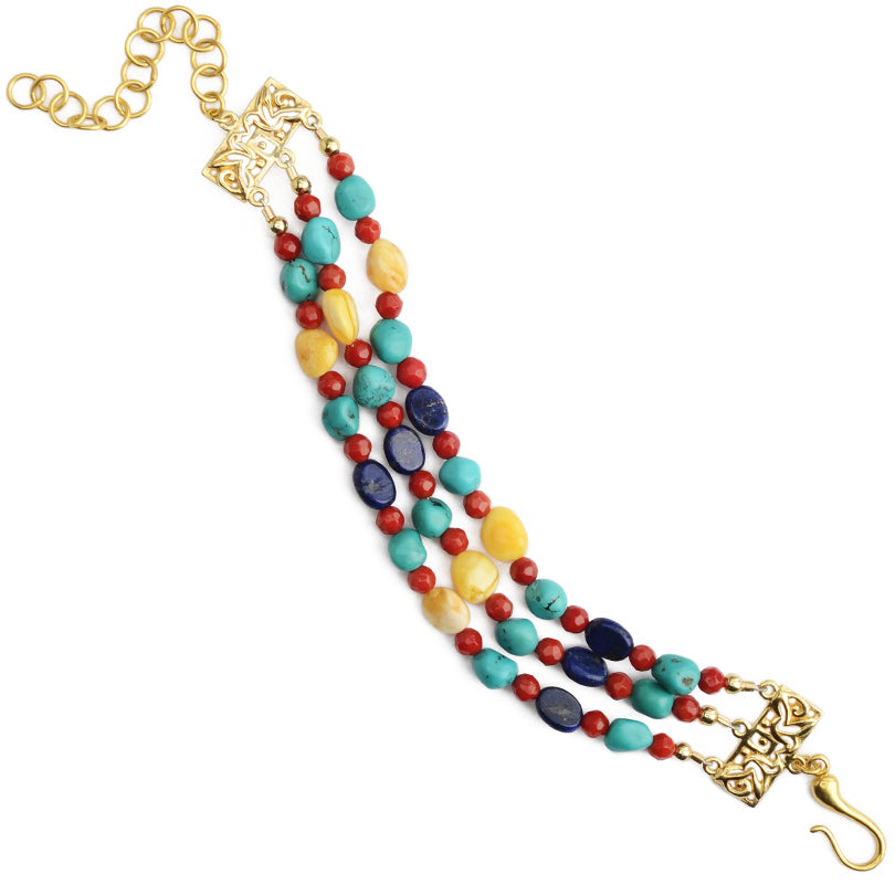 Chinese Inspired Beautiful Colors of Coral, Turquoise, Amber and Lapis Vermeil Bracelet