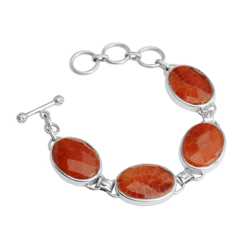 Rich Faceted Fire Agate Sterling Silver Bracelet
