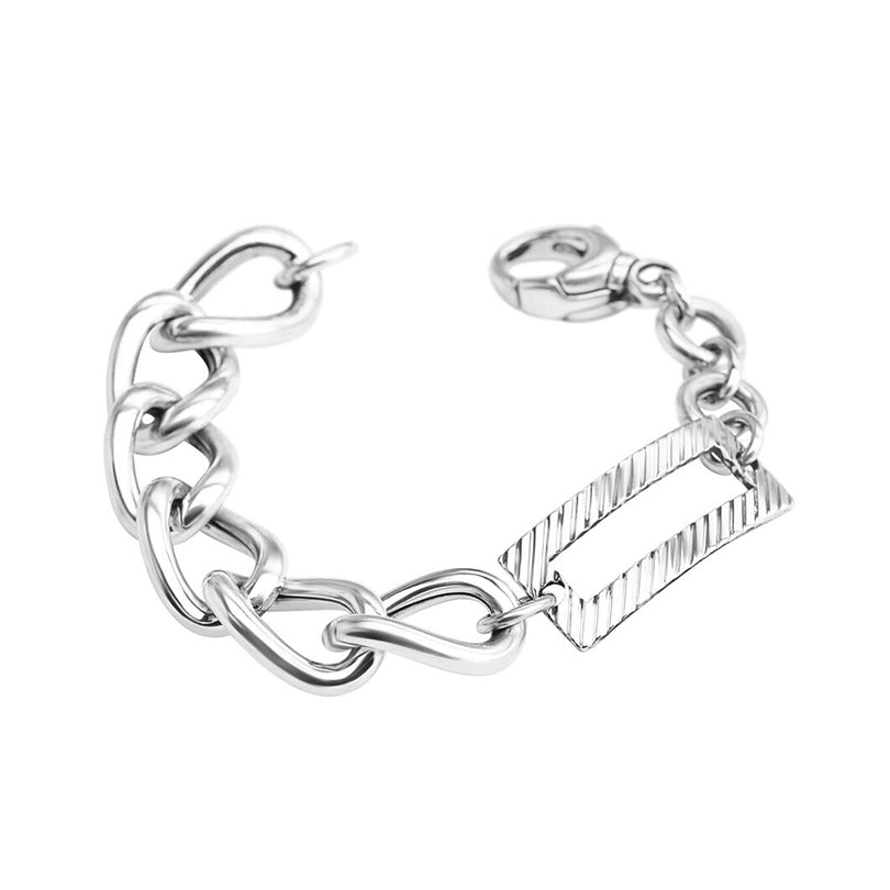 Rhodium Plated Italian Sterling Silver Link Bracelet
