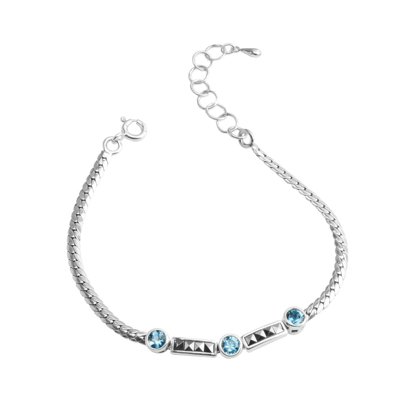 Petite Gemstone and Marcasite Sterling Silver Bracelet