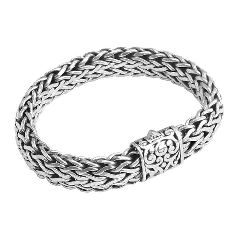 Sterling Silver Bali Weave with Filigree Barrel Clasp Bracelet 15mm