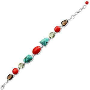 Stunning Coral, Genuine Turquoise and Green Amethyst Sterling Silver Statement Bracelet