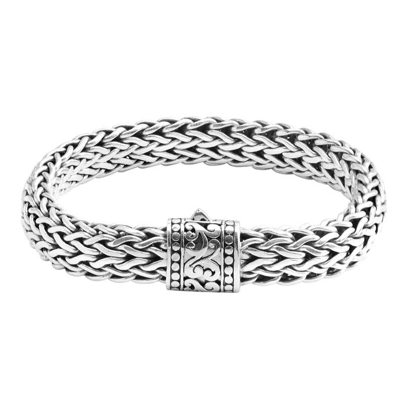 Sterling Silver 15mm Bali Weave Bracelet w/ Dotted Filigree Barrel Clasp-extra long sizes