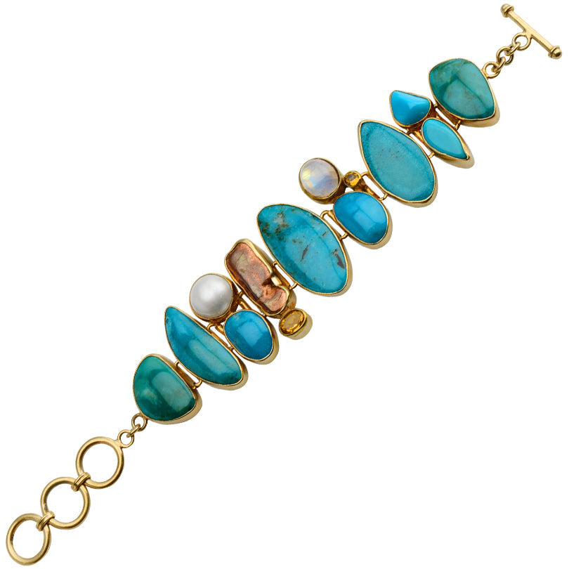 Starborn Gorgeous Blue Turquoise, Peruvian Opal, Pearl and Moonstone Gold Plated Statement Bracelet