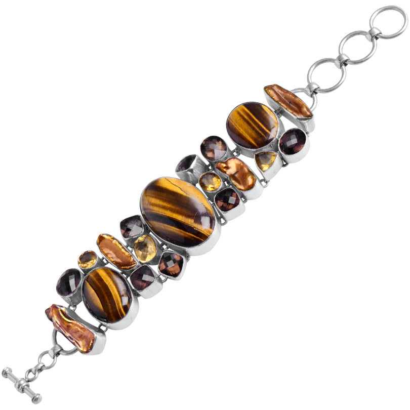 Gorgeous Tiger's Eye,Golden Pearl and Gemstones Sterling Silver Statement Bracelet
