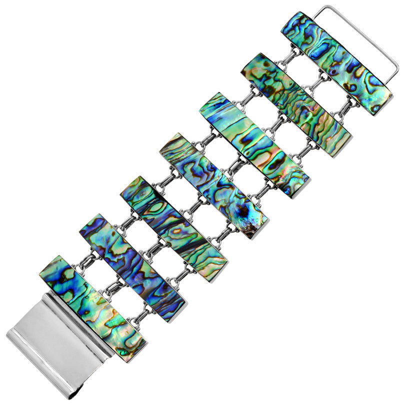 Shimmering Layered Abalone Sterling Silver Statement Bracelet