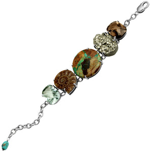 Gorgeous Turquoise, Pyrite, Ammonite, Smoky Quartz and Green Amethyst Sterling Silver Statement Bracelet