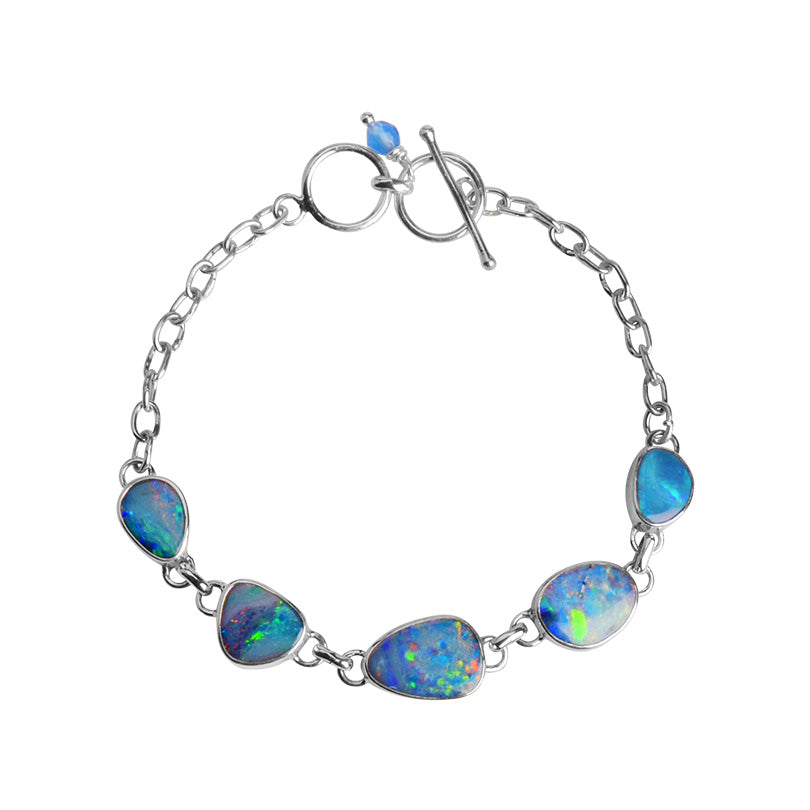 Stunning Australian Blue Opal with Sparkling Inclusions Sterling Silver Statement Bracelet