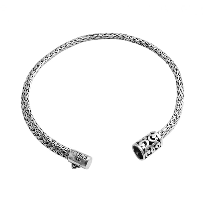 Sterling Silver Bali Weave with Filigree Barrel Clasp Bracelet 5mm