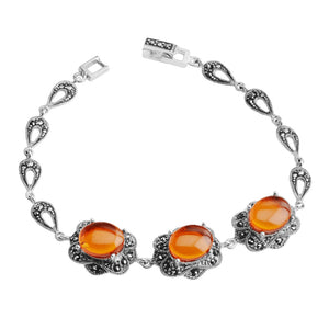 Sparkling Baltic Amber and Marcasite Sterling Silver Statement Bracelet