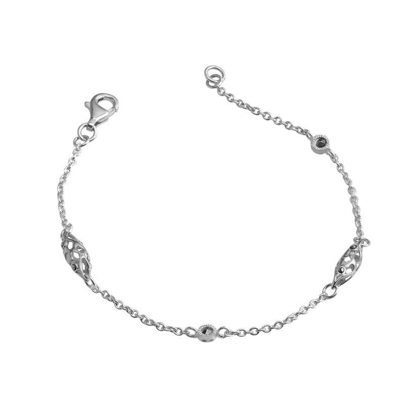 Marcasite Beaded Sterling Silver Anklet