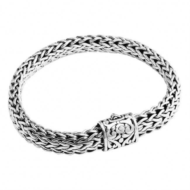 Sterling Silver Bali Weave with Filigree Barrel Clasp Bracelet 10mm