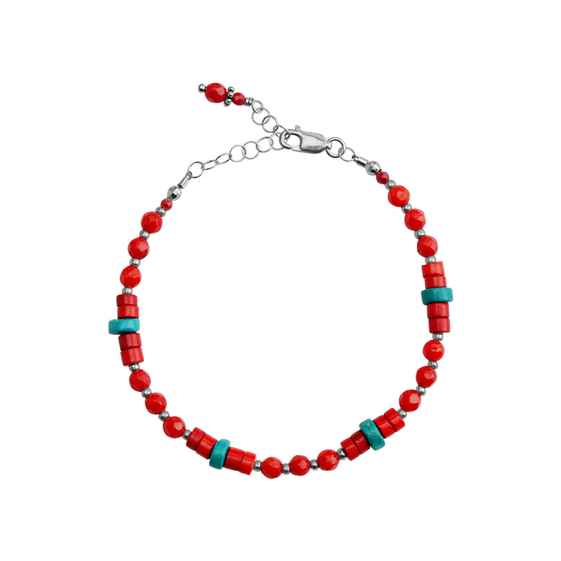 Cute Single Strand Turquoise Color Magnesite and Coral Sterling Silver Bracelet