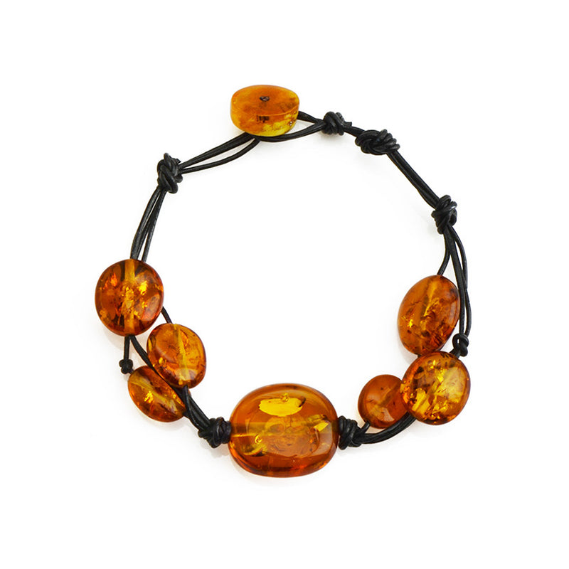 Beautiful Cognac Baltic Amber Leather Bracelet - Small