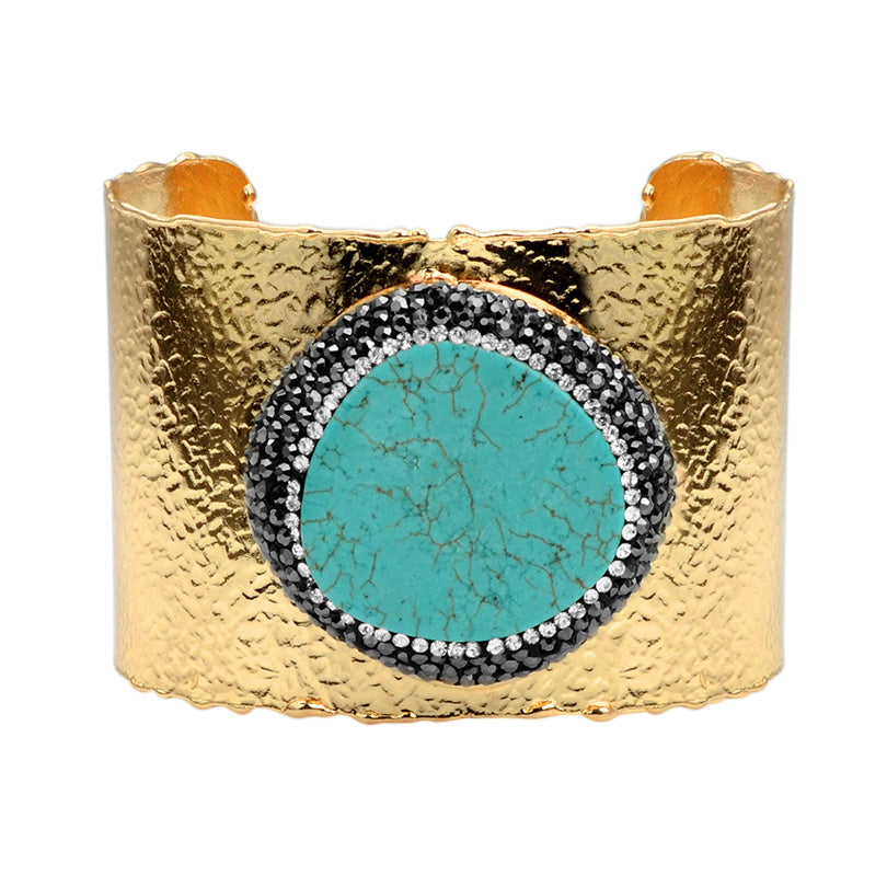 Sparkling Howlite Turquoise with Hematite and Crystal Gold Plated Cuff