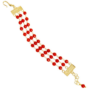 Beautiful & Bright 3 Strand Red Coral 18kt Gold Plated Silver Bracelet