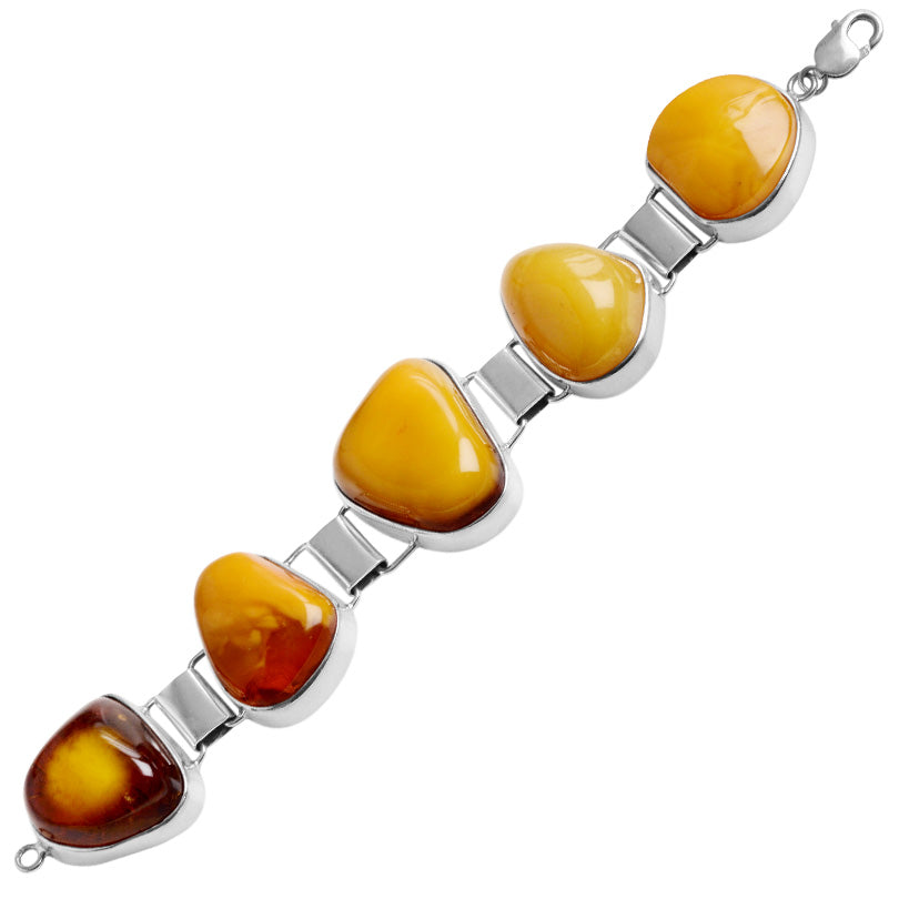 Gorgeous Butterscotch Baltic Amber Sterling Silver Statement Bracelet