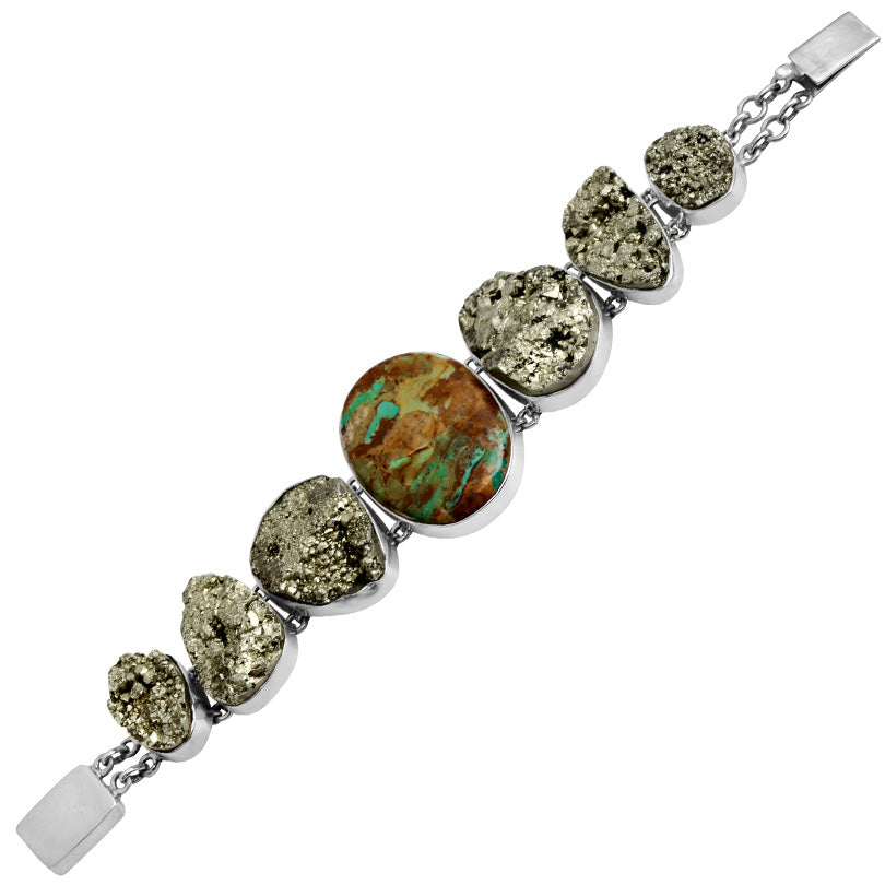 Super Size Boulder Turquoise and Pyrite Sterling Silver Statement Bracelet