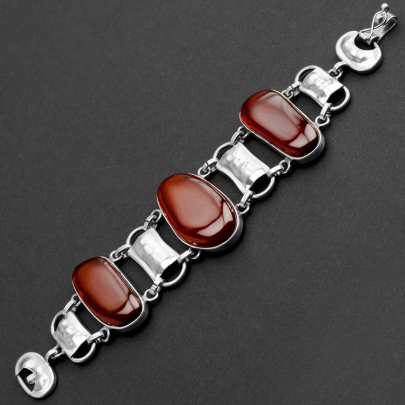 Gorgeous Polish Designer Clear Cherry Baltic Amber Sterling Silver Statement Bracelet