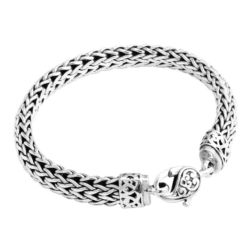 Sterling Silver Bali Weave with Filigree Lobster Clasp Bracelet 12mm - 8""