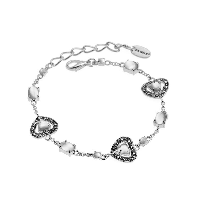 Darling Hearts White Mother of Pearl and Marcasite Sterling Silver Petite Bracelet
