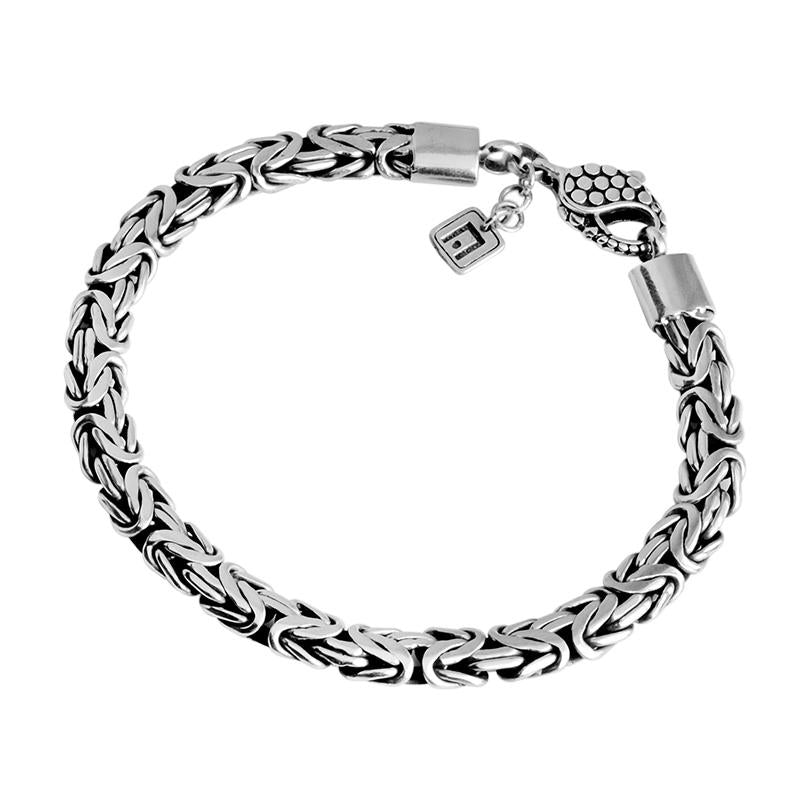 Sterling Silver 8mm Borobadur Bracelet with Dotted Lobster Clasp 10""