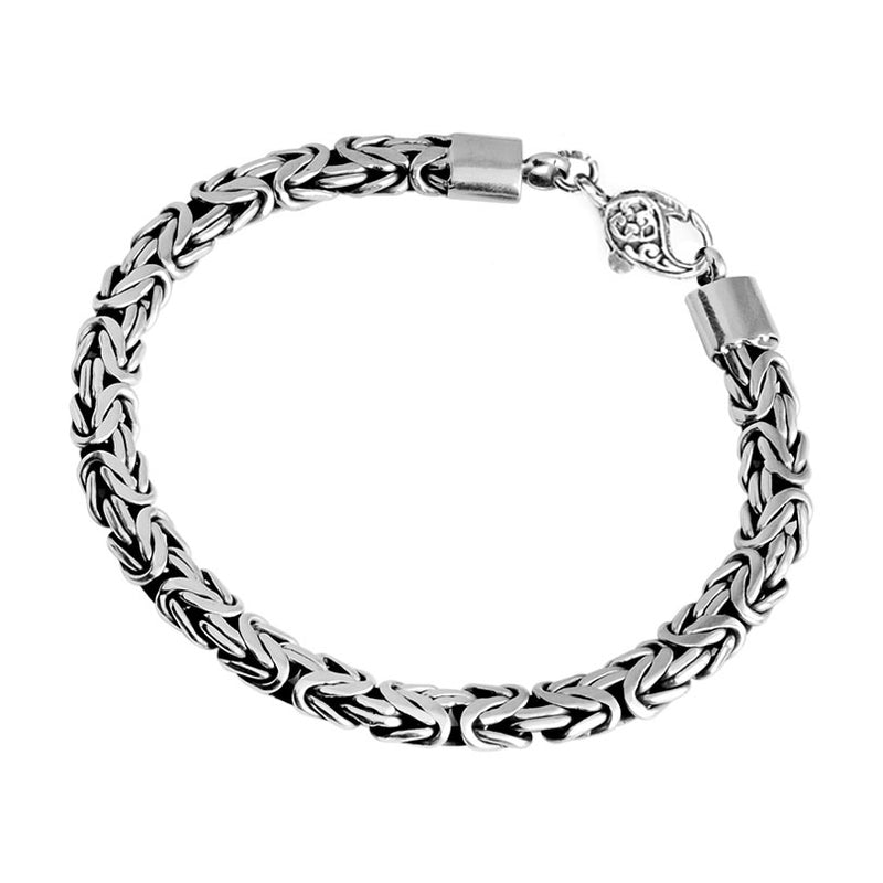 Sterling Silver 8mm Borobadur Bracelet with Lobster Clasp