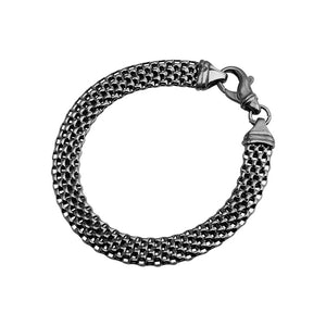 Italian Dark Rhodium Plated Sterling Silver Weave Bracelet
