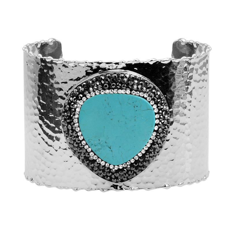 Gorgeous Howlite-Turquoise Heart with Hematite and Crystal Silver Plated Cuff