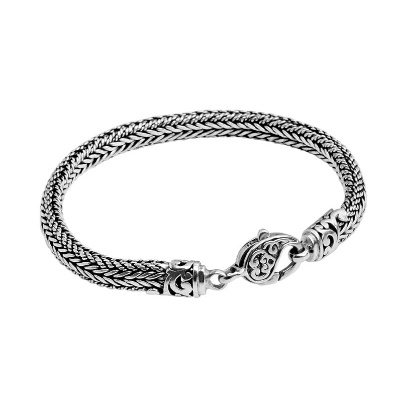 Sterling Silver 7mm Fancy Padi Weave Bali Bracelet w/ Filigree Lobster Clasp