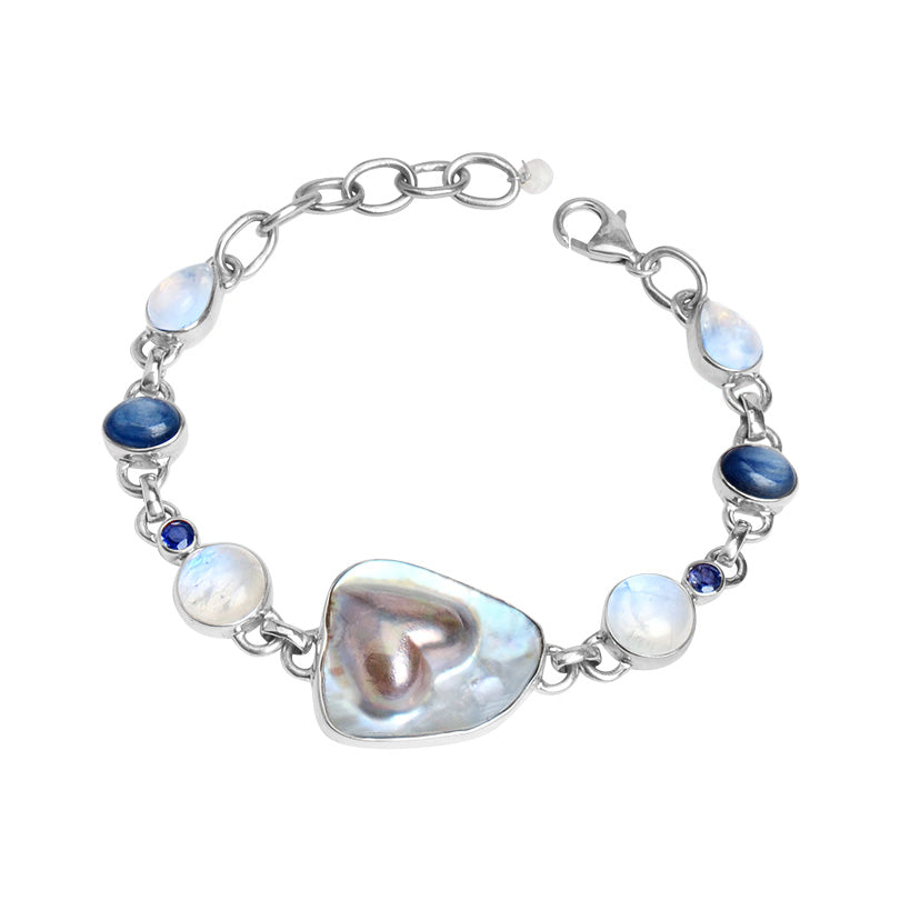 Exquisite Freshwater Blister Pearl, Moonstone, Kyanite and Iolite Sterling Silver Bracelet