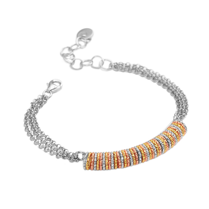 18kt Tri-Color Diamond Cut Sterling Silver Bracelet