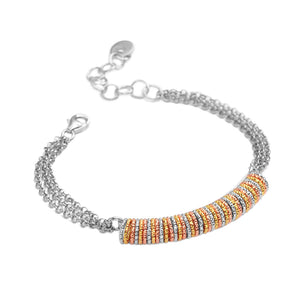 Italian 18kt Tri-Color Diamond Cut Sterling Silver Bracelet