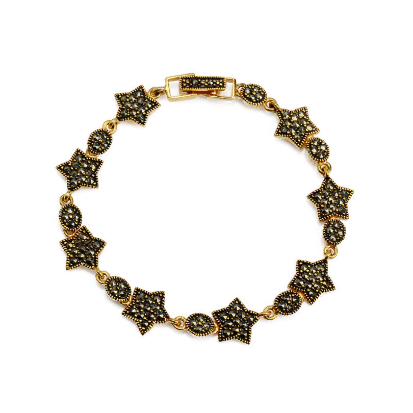Charming Marcasite Stars Gold Plated Bracelet