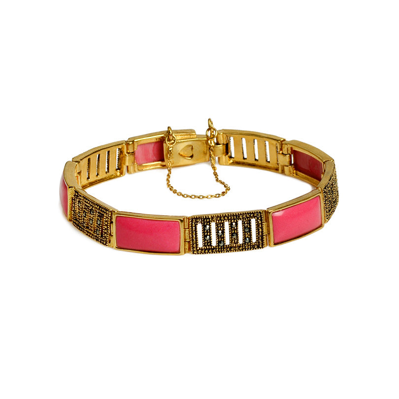 Bright Pink Enamel and Marcasite Gold Plated Bracelet