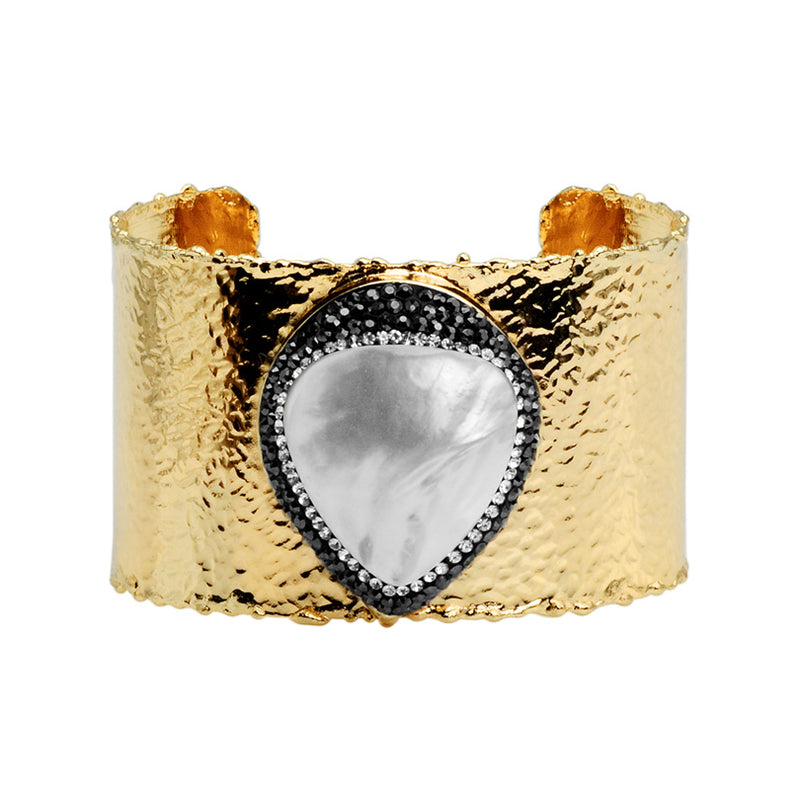 Beautiful Large Pearl Heart with Hematite and Crystals Sparkling Gold Plated Cuff