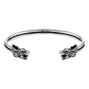 Sterling Silver Double Dragon Head Cuff Bracelet